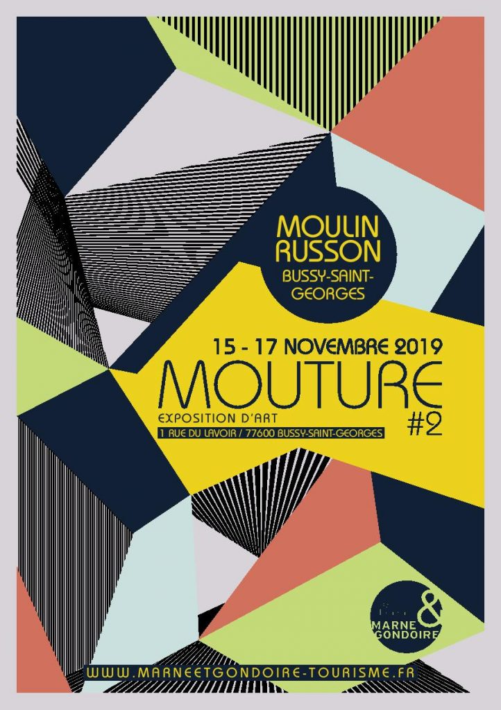 Affiche de l'expositon d'art contemporain Mouture #2 au Moulin Russon